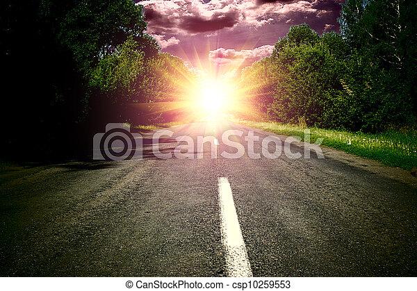 blå, över, sky, ved, grön, wis, solnedgång, väg - csp10259553