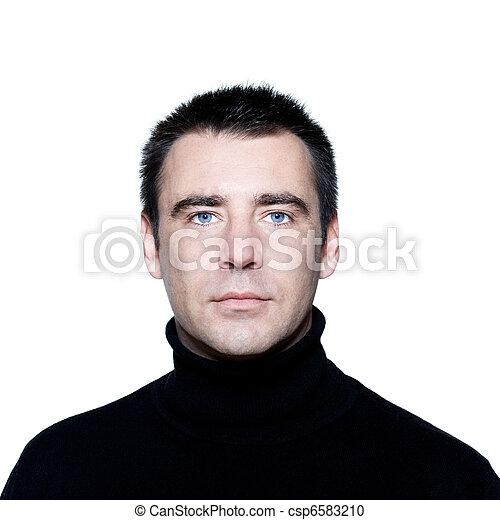 blå øje, graverende, portræt, mand, kaukasisk, pæn - csp6583210