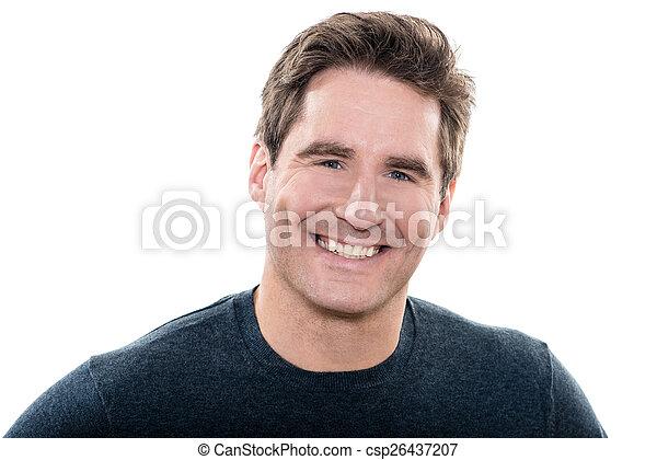 blå øje, moden, portræt, smile mand, pæn - csp26437207