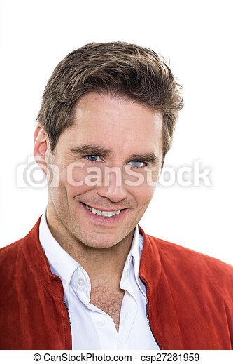 blå øje, moden, portræt, smile mand, pæn - csp27281959
