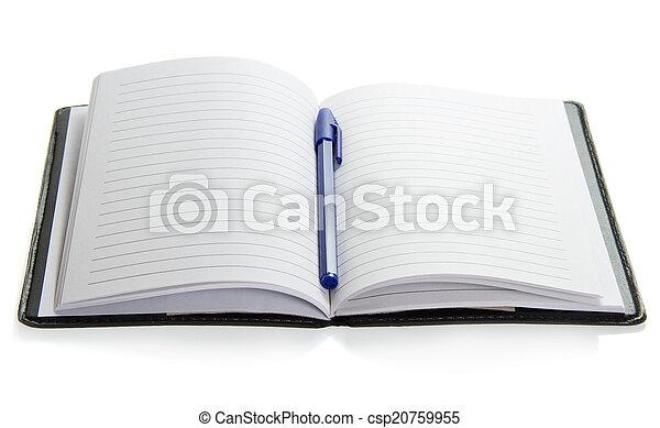 blå, anteckningsblock, handtag - csp20759955