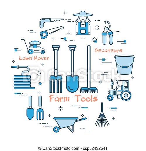 blå, begrepp, redskapen, runda, bönder - csp52432541