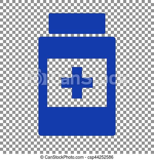 blå, beholder, medicinsk, baggrund., tegn., transparent, ikon - csp44252586