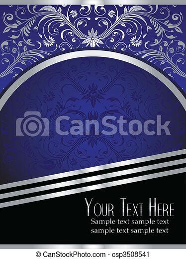 blå, blad, kunglig, bakgrund, utsirad, silver - csp3508541