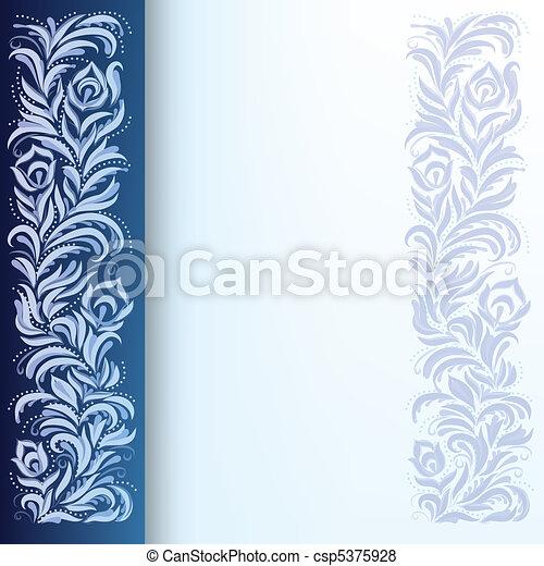 blå, blommig, abstrakt, prydnad, bakgrund - csp5375928