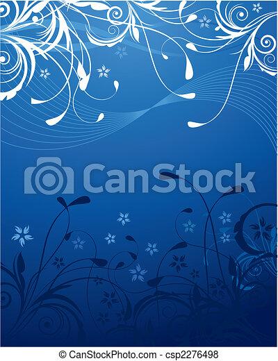 blå, blomstrede, baggrund - csp2276498