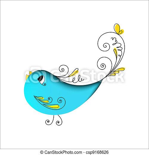 blå, blomstrede elementer, fugl, dejlige - csp9168626