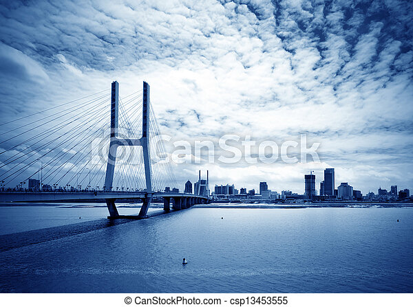 blå, bro, sky, under - csp13453555