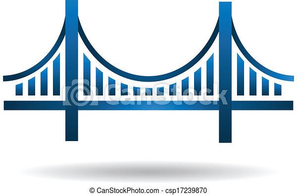 blå, bro, vektor, logo - csp17239870
