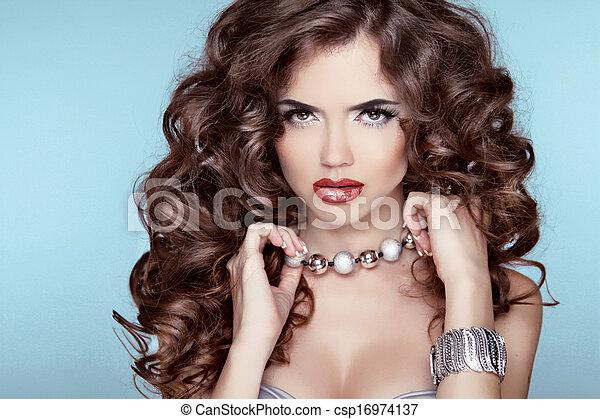 blå, brunett, hairstyle., skönhet, över, accessories., bakgrund., mode, portrait., flicka, smycken - csp16974137