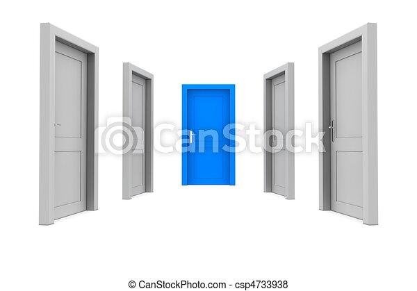 blå dörr, välja - csp4733938