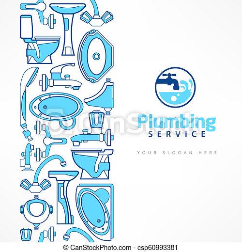 blå, design, baner, rörarbete, logo - csp60993381