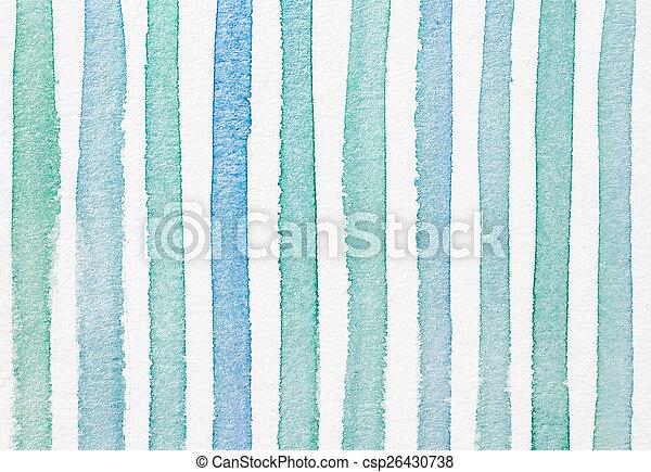 blå, färg, vattenfärg, bakgrund, strukturerad, cyan, randig - csp26430738