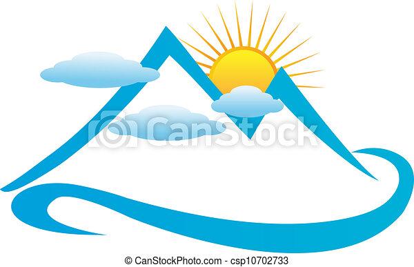 blå fjäll, molnig, logo - csp10702733