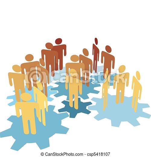 blå, folk, arbejde, det gears, hold, forbinde - csp5418107