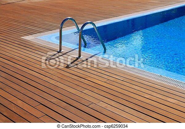 blå, golvmaterial, teak, ved, slå samman, simning - csp6259034