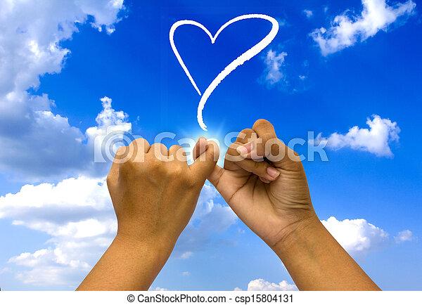 blå, hænder, forenet, to, sky. - csp15804131