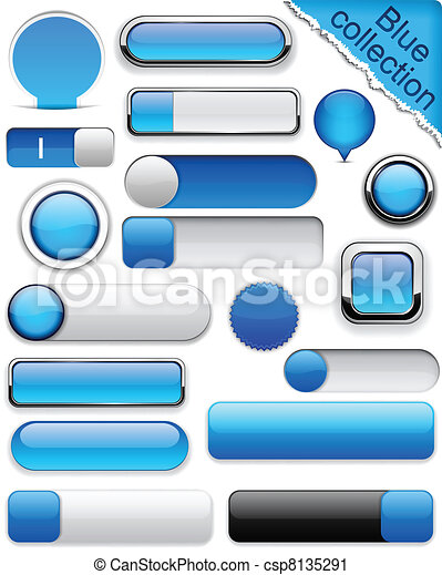 blå, high-detailed, buttons., moderne - csp8135291