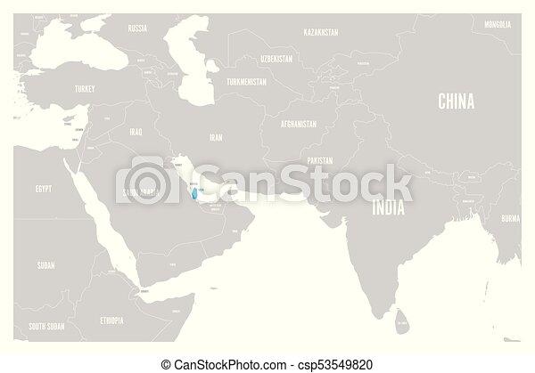 Bla Karta Qatar Lagenhet Enkel Politisk Markt Mitt Vektor