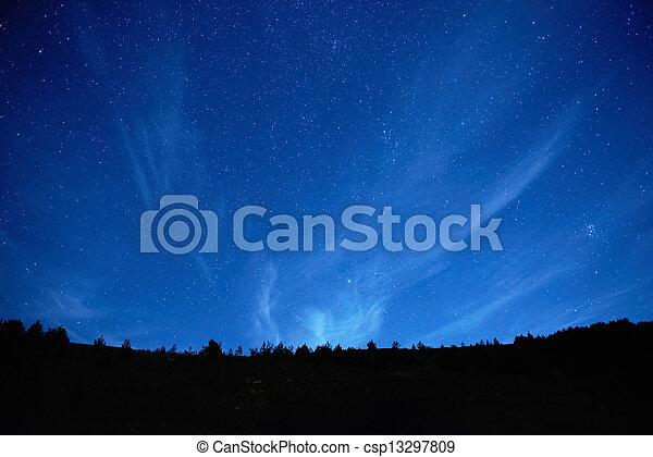 blå, mørke, nat himmel, stars. - csp13297809