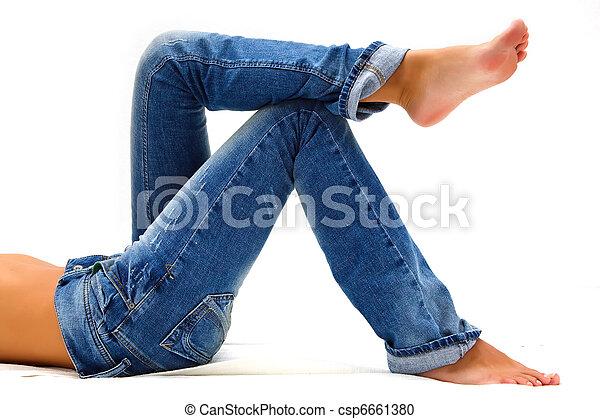 blå, pige, jeans - csp6661380