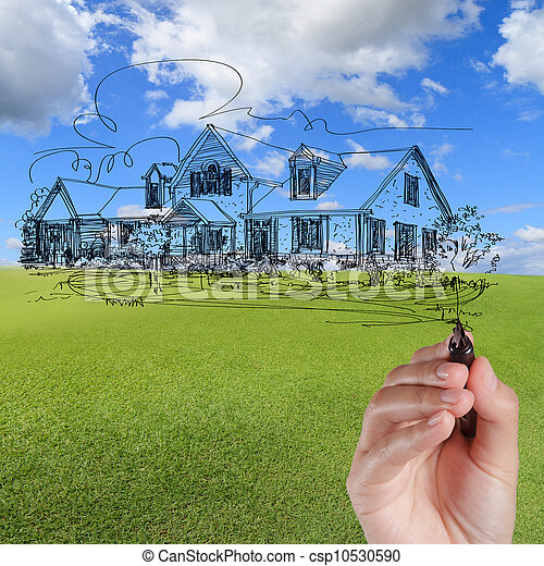 blå, rita, hus, sky, mot, hand - csp10530590