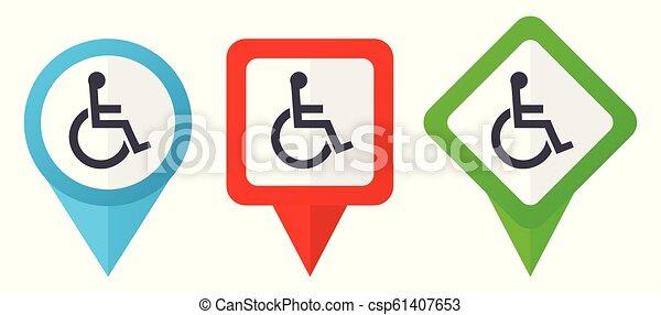 blå, sätta, bakgrund, färgrik, rullstol, isolerat, icons., edit., vektor, grön, lokalisering, lätt, vit röd, pekare, märken - csp61407653