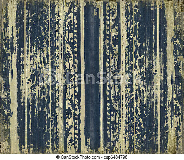 blå, scroll-work, ved, grunge, stripes - csp6484798
