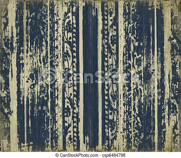 blå, scroll-work, ved, grunge, stripes - csp6484798