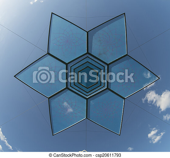 blå, sex, stjärna, spetsig, objekt, sky, design, över - csp20611793