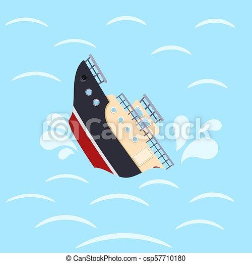 blå, skeppsbrott, bakgrund., catastrophe., avbild, illustration, färg, vektor, design, hav, skepp, waves. - csp57710180