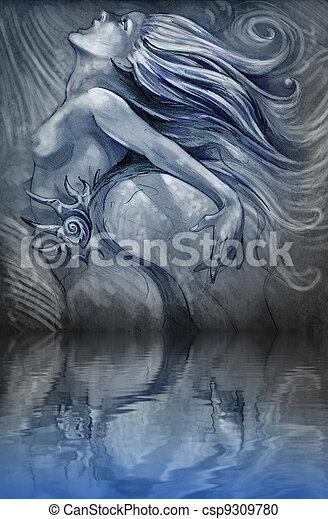 blå, skinne, reflektion, nude, illustration, vand farve, effekter, hen, havfrue - csp9309780