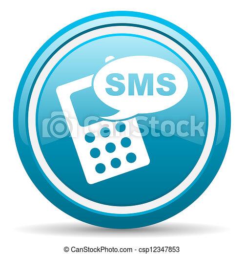 blå, sms, glatt, bakgrund, vit, ikon - csp12347853