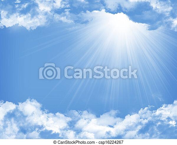 blå, sol, skyer, himmel - csp16224267