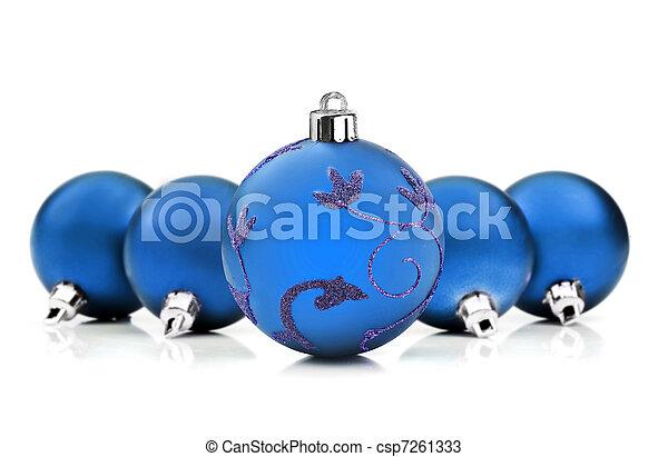 blå, struntsak, utrymme, text, bakgrund, vit jul - csp7261333