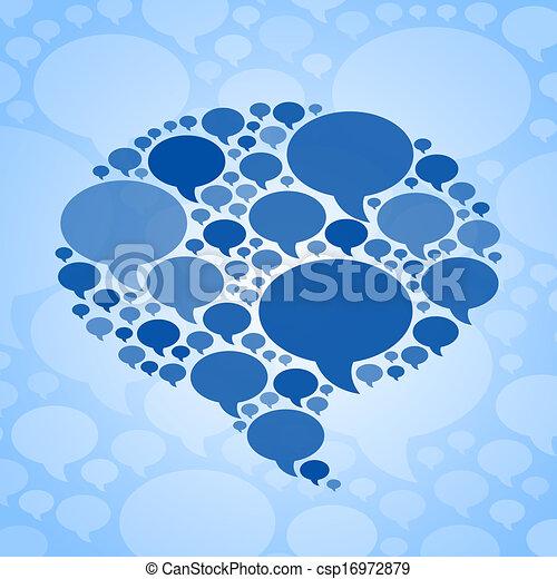 blå, symbol, bubbla, bakgrund, pratstund - csp16972879