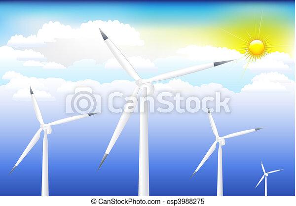 blå, turbine, himmel, vind - csp3988275
