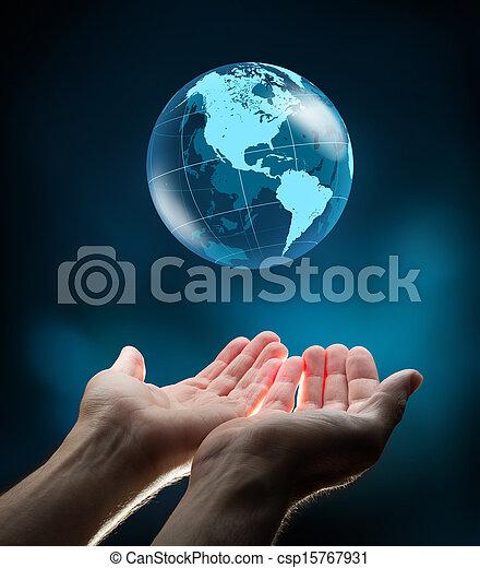 blå, värld, räcker - csp15767931
