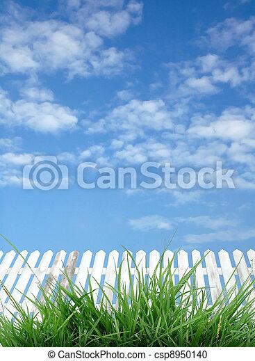 blå vita himmel, staket - csp8950140