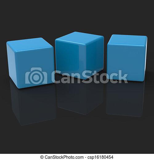 Drei leere Blocks zeigen Kopien für drei Buchstaben - csp16180454