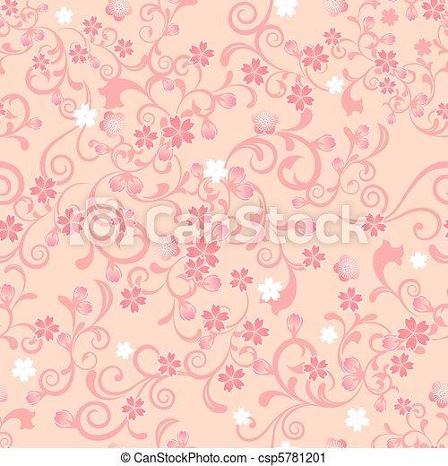 blüte, kirschen, seamless, muster - csp5781201
