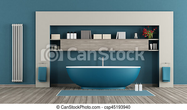 Blå, badeværelse, moderne. Blå, badeværelse, køler,... tegning - Søg ...