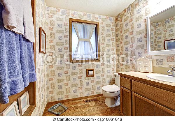 Blå, brun, badeværelse, gamle, tapet, towels. Blå, brun,... stock ...