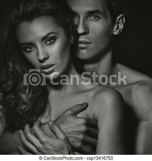 Blac white portrait of sensual couple csp13416753