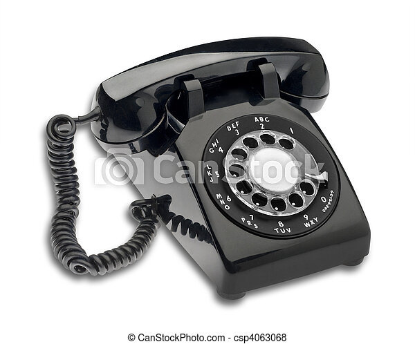 Black 1960s dial phone, isolated - csp4063068