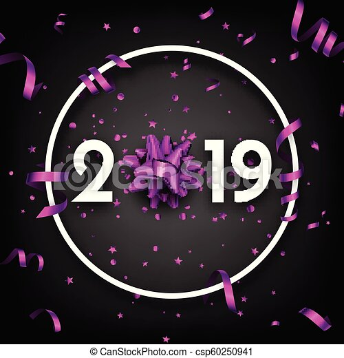 black 2019 happy new year card with purple bow and serpentine csp60250941