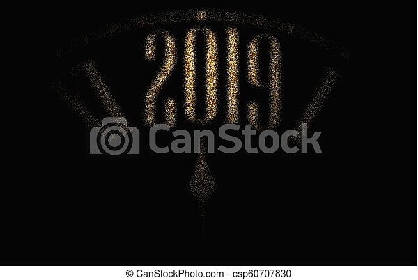 black 2019 new year background with golden clock csp60707830