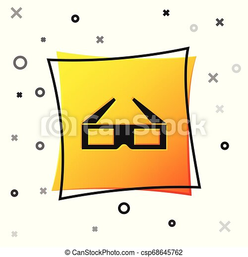 Black 3D cinema glasses icon isolated on white background. Yellow square button. Vector Illustration - csp68645762