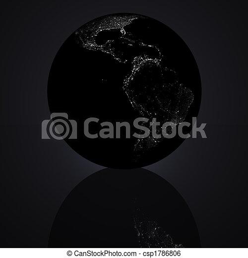 black 3D globe - csp1786806