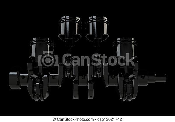 Black 4 cylinder crank assembly - csp13621742
